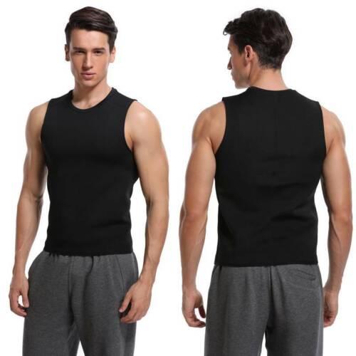 Men's Zipper Neoprene Sauna Vest Ultra Sweat Shirt Body Shaper Slim Tank Tops UK