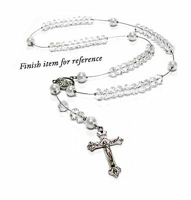 Rosary Beads White Crystal Glass Bead Kit for Woman Jewelry Necklace Making