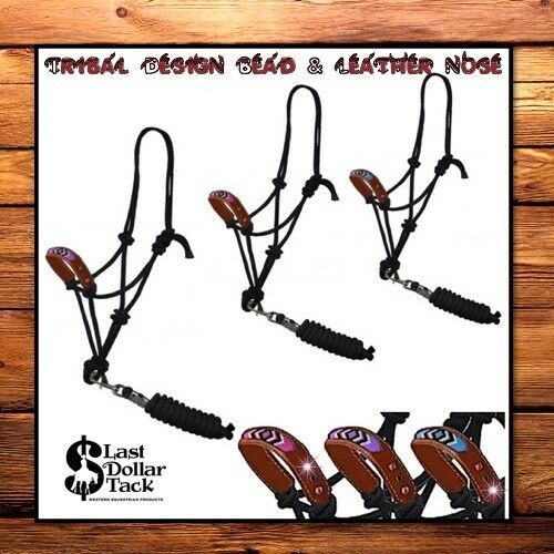 HORSEMAN'S HALTER & ROPE SET  NAVAJO TRIBAL DESIGN BEAD & LEATHER PADDED NOSE