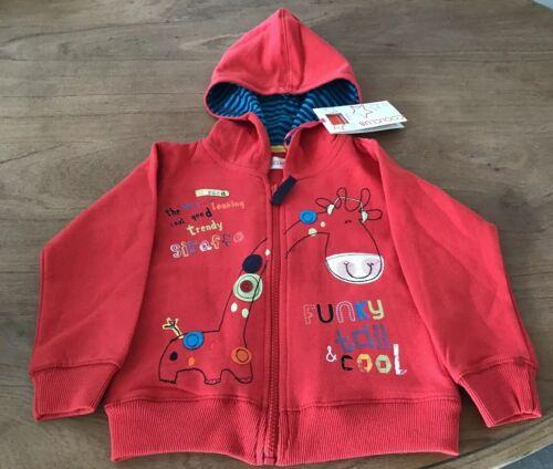 HOODIE//HOODED TOP BABY//KIDS//BOYS//GIRLS BNWT RED FUN GIRAFFE DESIGN AGE 2 YEARS