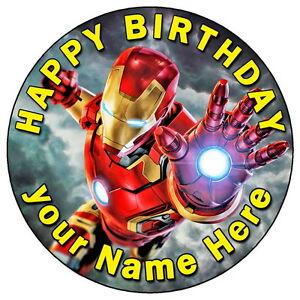 """Iron Man Marvel Avengers Cake Topper 7.5/"""" Personalised Edible Wafer Paper"""