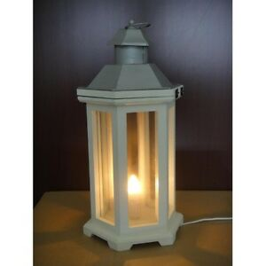 White silver lantern light home garden indoor out table for Table decor international inc