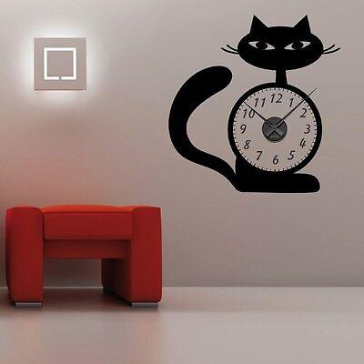Sticker mural Horloge géante CHAT DESIGN avec mécanisme aiguilles