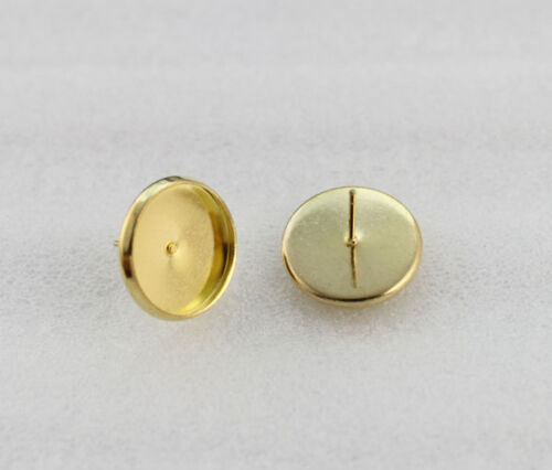 30PCS Golden 16mm Round Cabochon Setting Earring Pin Studs #23147