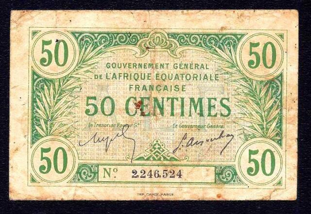 French Equatorial Africa 50 Centimes 1917  P-1  * RARE *