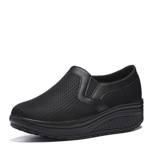 Women Wedges Sneaker Sock Toning Shoes Casual Mesh Walking Fitness Slip On Solid