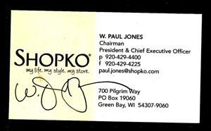 Signed business card of w paul jones chairman shopko ebay image is loading signed business card of w paul jones chairman reheart Gallery