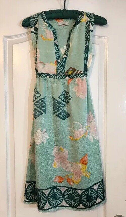Essentiel Antwerp Green Teal Pink Sleeveless 100 Silk Dress Size US 6