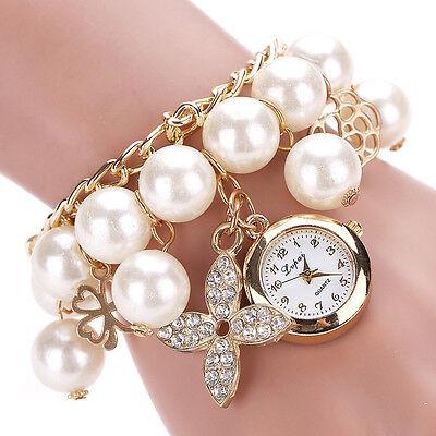Women Faux Pearl Crystal Rhinestone Chain Bracelet Round Dial Analog Wrist Watch