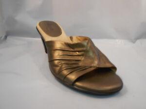 Softspots-Metallic-Brown-Leather-Mule-Open-Toe-Heels-Women-039-s-Size-6-5-M