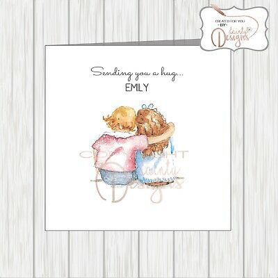 Friendship Card Sending You A Hug Thinking Of You Girls Hugging Cuddle Sketch Ebay