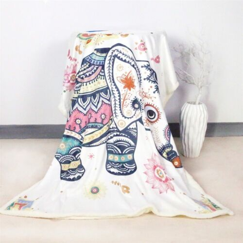 Hippie Rainbow Elephant Cartoon Sherpa Plush Throw Blanket Fleece Bed Sofa Couch