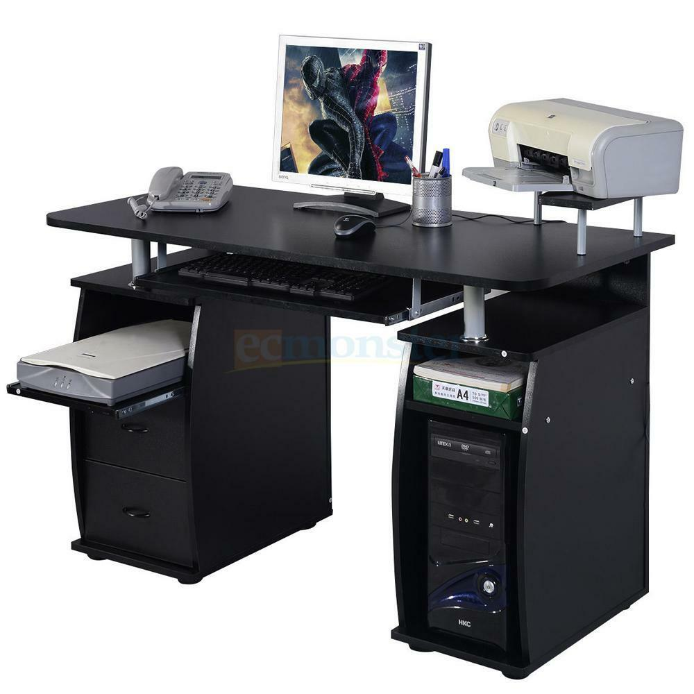 Computer pc desk work station office home raised monitor for Computer desk furniture
