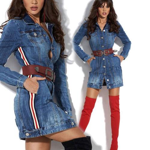 Xs Da Ladies Giacca Blue Dress lunga Denim Alina Minidress With m Jeans Belt Dress qU5wn76Zxq