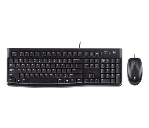 Logitech MK120 Wired UK QWERTY KeyBoard /& Mouse Bundle Desktop Combo Set Black