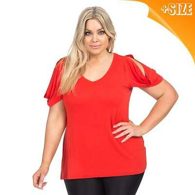 New Ladies Red Jersey Plus Size T-Shirt Dress 16-26