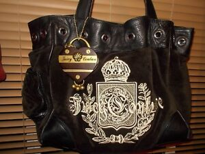 Image is loading Juicy-Couture-Velour-Brown-Large-Satchel-Shoulder-Bag- 5468c628d