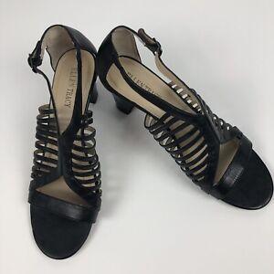 ELLEN-TRACY-Women-s-Sandals-Size-9M-Black-Side-Buckle-Display-Model-Scuff-Marks