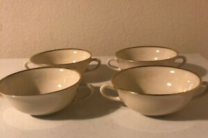4-Lenox-MANSFIELD-Flat-Cream-Soup-Bowls-w-handles-Made-in-USA-4-7-8