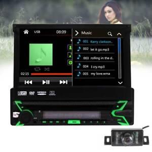 1Din-Radio-de-coche-7-034-Pantalla-tactil-BT-GPS-Navi-USB-SD-FM-AM-DVD-CD-Camara