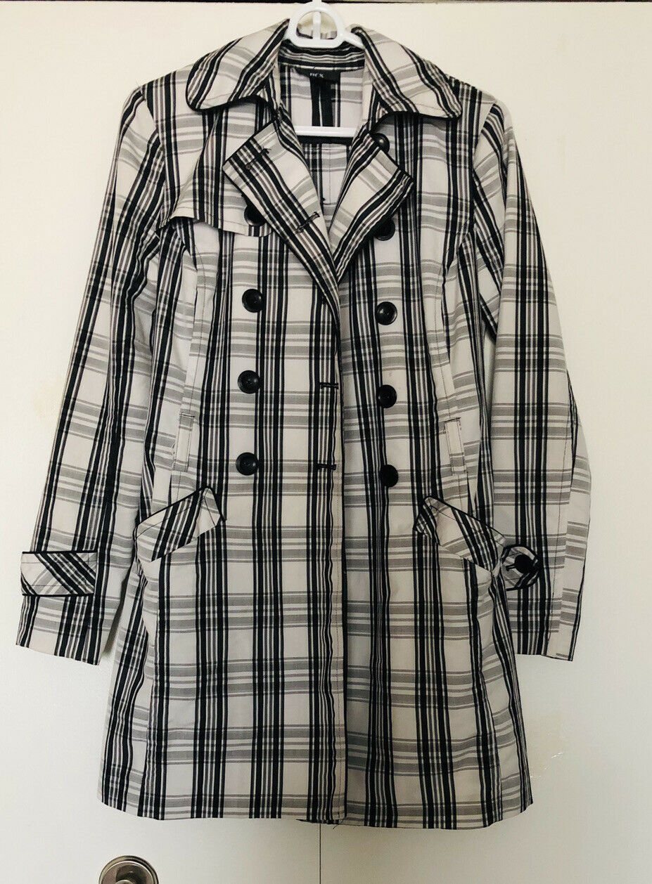 BCX Plaid Trench Jacket Coat Sz S🧥 Double Breasted 🧥Pockets 🌷 Unlined