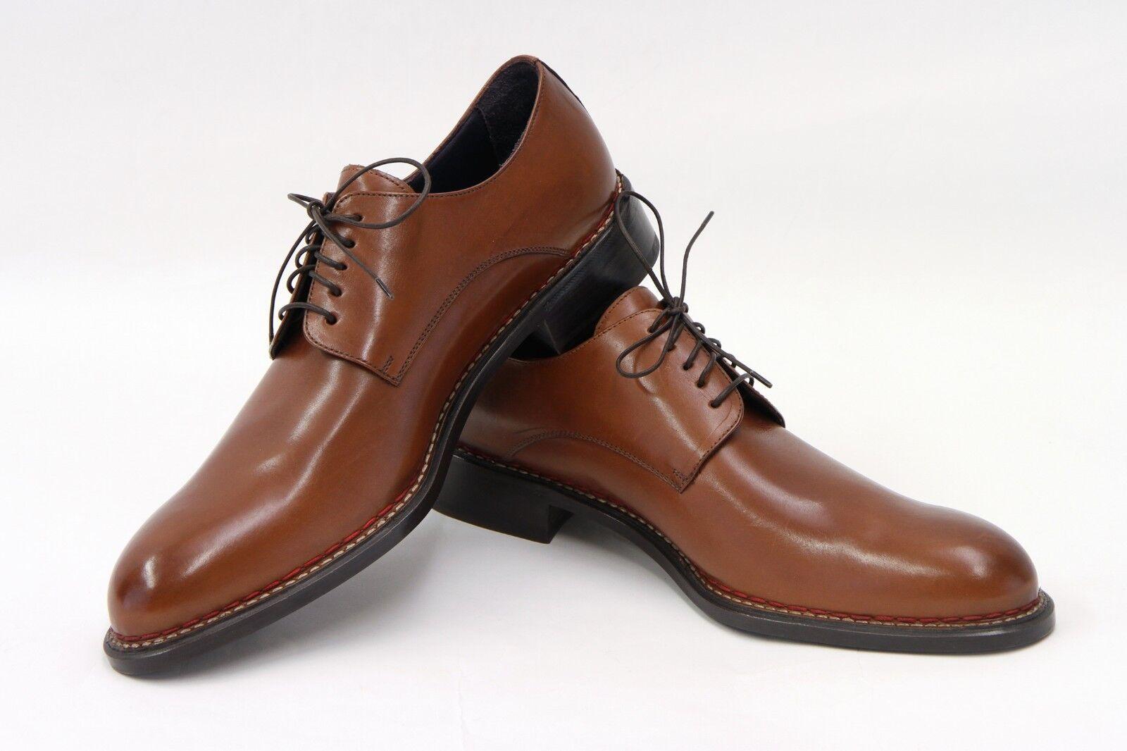 NWOB ISAIA NAPOLI uomo 100% LEATHER COGNAC Marroneee LACE-UP DERBY DRESS scarpe