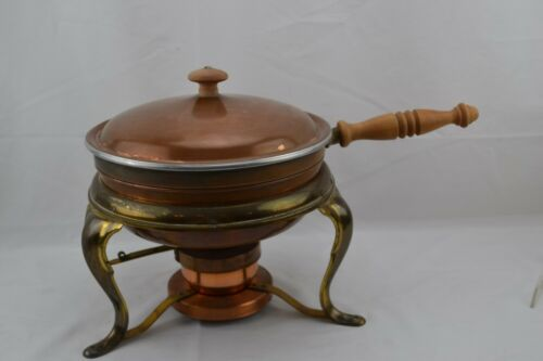 Large Vintage Chafing Dish with Double Liner Warmer Wooden Handle