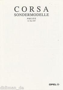 Automobilia Prospekte Billiger Preis Opel Corsa Sondermodelle Preisliste 1997 16.5.97 Price List Prijslijst Auto
