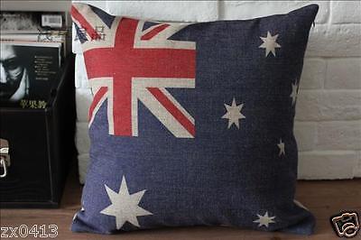 VINTAGE AUSTRALIAN OLD STYTLE FLAG DECOR NATURAL LINEN CUSHION COVER PILLOW CASE