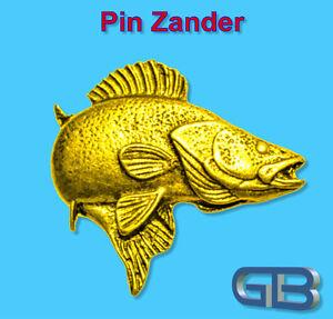 ANSTECKNADEL-PIN-Fisch-Zander-aus-Zinn-farbe-Gold-Silber-Bronze