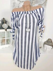 Italy Sommer Kleid OVERSIZE gestreift Baumwolle Streifen Blau Weiß 42 44 46