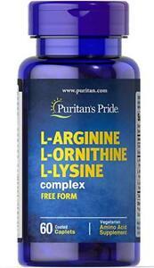 Puritan-039-s-Pride-L-Arginine-L-Ornithine-L-Lysine-60-Caplets-free-shipping