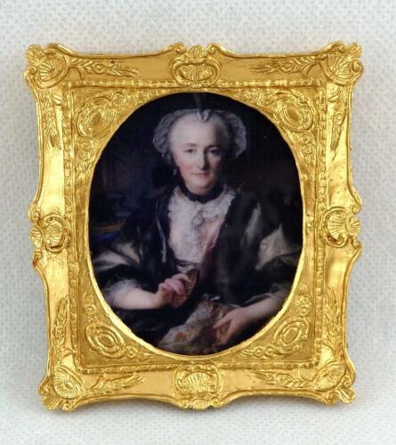 CASA delle bambole Lady cucito foto Falcon in Miniatura dipinto in doppia cornice dorata