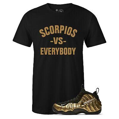 "Men/'s Black Scorpios vs Everybody Tee to Match Foamposite Pro /""Metallic Gold/"""