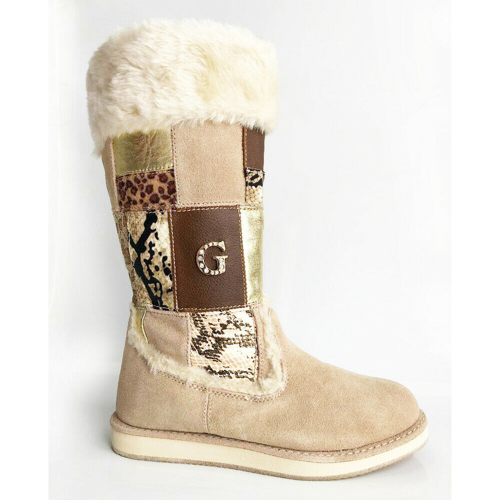 US7.5 GUESS VANDY PATCHWORK NATURAL MID-CALF FAUX FUR PULL ON WEDGE BOOTS SHOES