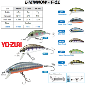 YO-ZURI-L-MINNOW-F-11-Truite-Brochet-Perche-Saumon-Trout-Pike-Perch-Lure