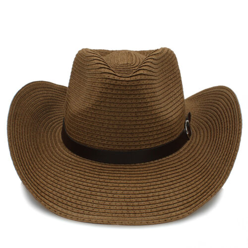 Men Women Kid Children Boy Girl Straw Western Cowboy Hats Wide Brim Caps Sunhat