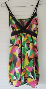 Target-FREE-FUSION-Size-8-MULTI-COLOURED-SATIN-LOOK-SHOE-STRING-STRAP-DRESS