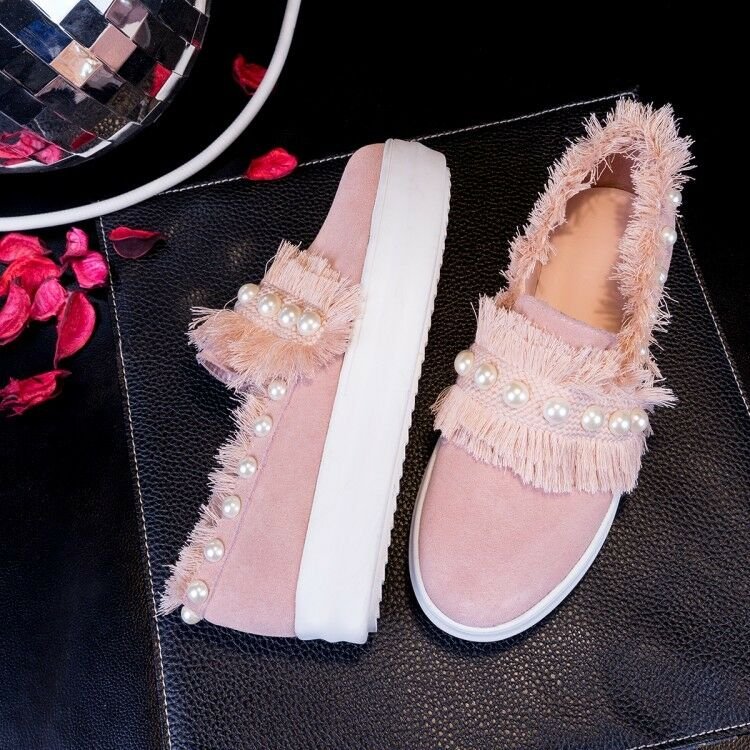 Fashion Femme Bout Rond Daim Synthétique Perles à Enfiler Mocassins chaussures Taille Athletic