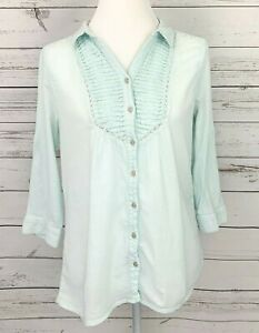 Bandolino-Top-Womens-Medium-M-Blue-Solid-Crinkle-3-4-Sleeve-Button-Collared