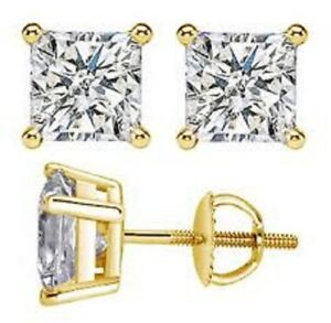 4-00-Ct-Princess-Cut-Solitaire-Diamond-Earring-Stud-14K-Solid-Yellow-Gold-Studs
