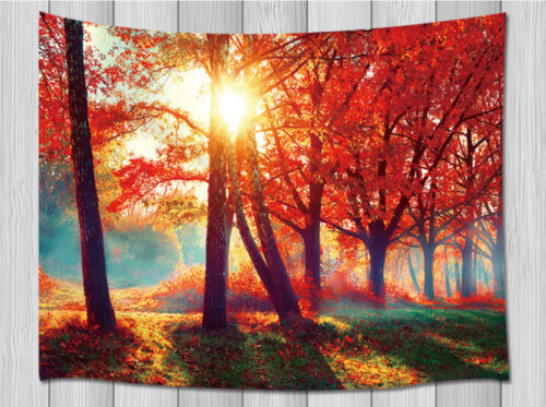 Autumn Red Tree Leaves Tapestry For Living Room Bedroom Dorm Wall Hanging Rug