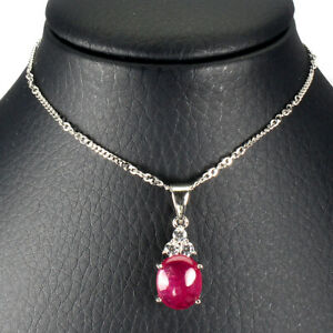 Oval-Red-Ruby-10x8mm-Cz-14K-White-Gold-Plate-925-Sterling-Silver-Necklace-16-Ins