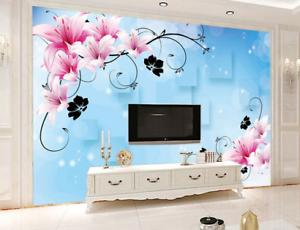 3D Sternenlicht Lilien bluemen 455 Tapeten Mauer Foto Familie Tapete Wandgemälde