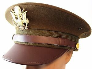 Image is loading US-ARMY-OFFICERS-WW2-STYLE-PEAKED-CAP-amp- deb52d9727c