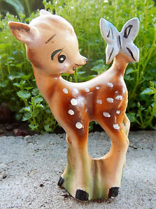 VINTAGE DISNEY PRODUCTIONS JAPAN BAMBI CERAMIC FIGURINE BUTTERFLY