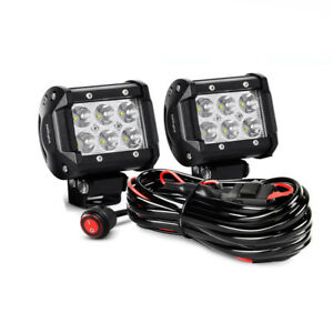 Details about Nilight 2Pcs 4 inch 18W Offroad LED Light Bar Spot Pods on