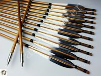 """12pcs Traditional Medieval Bamboo Arrows 32 Inches Hunting Arrows 6"""" Fletching"""