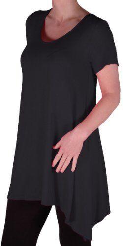 Damen Kurzarm Rundhalsausschnitt beilaufige lange Bluse Tunika oberteil