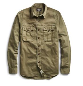 RRL Ralph Lauren Green Olive Cotton Herringbone Twill Shirt Men's S Small